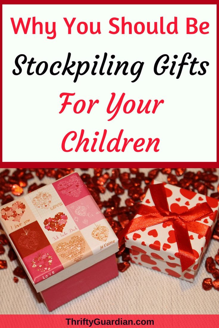 Stockpile gifts for your kids and keep them in a tote to save money and time when shopping for holidays or birthdays! #savemoney #holidayshopping #presents #gifts #savemoneybuyingpresents #giftideas #garagesales