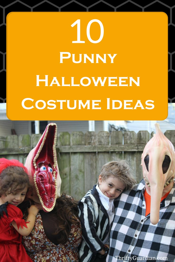Punny Halloween costume ideas that are quick, easy, and best of all - frugal! Funny halloween costumes to save you time and money. Family costume ideas, easy halloween, cheap halloween costumes, fast costume tips. #halloween #costumes #punny